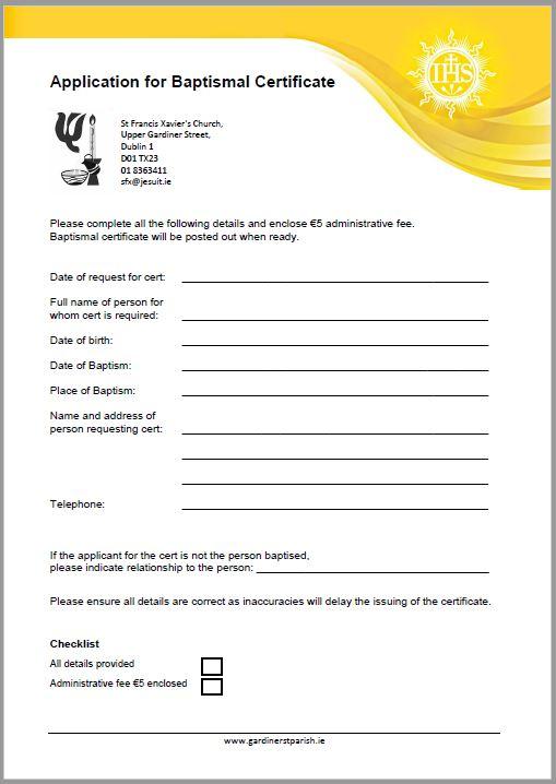 Baptismal Cert Application Form